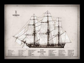 23) HMS Surprise 1796 - signed print